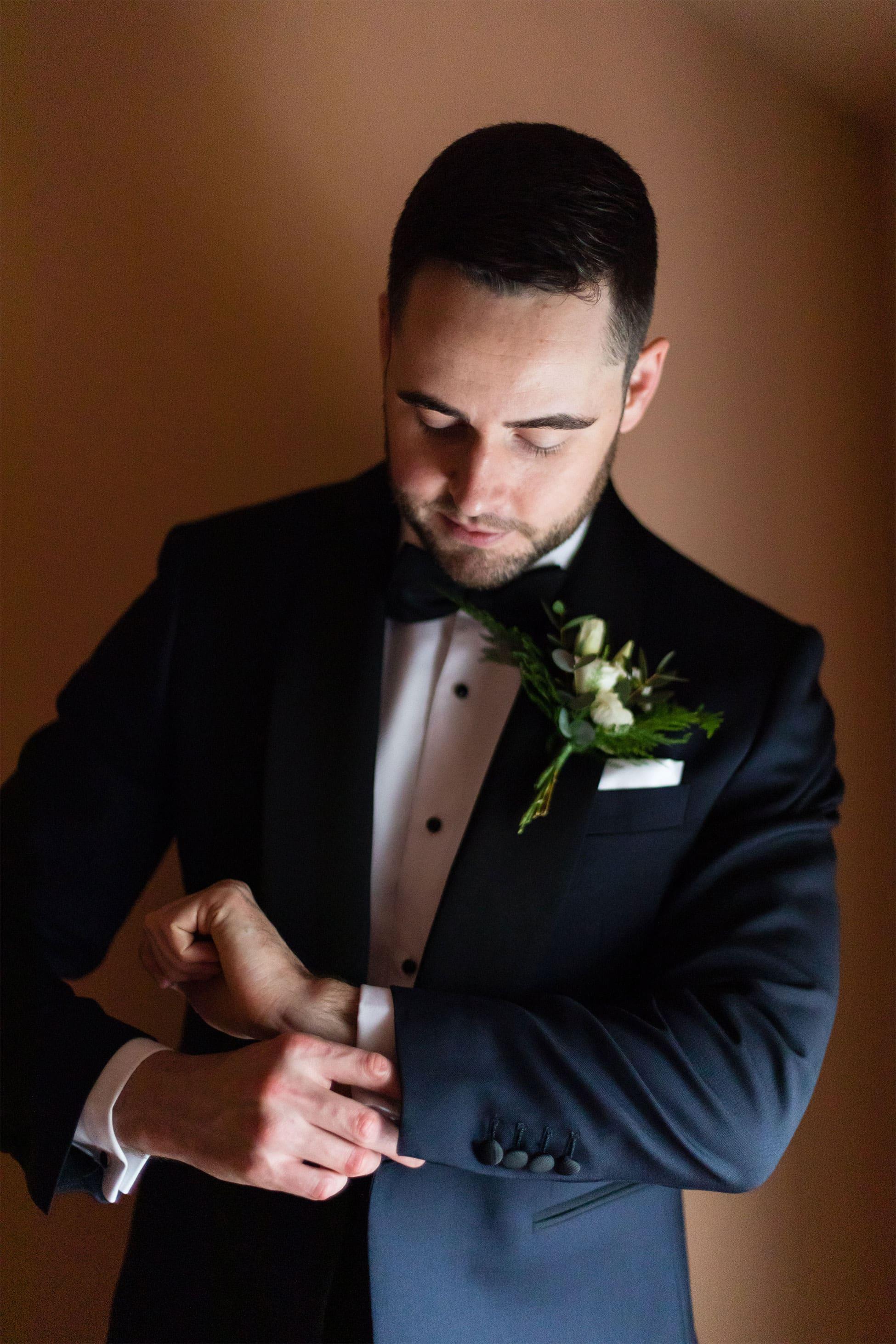 groom style tux portraits