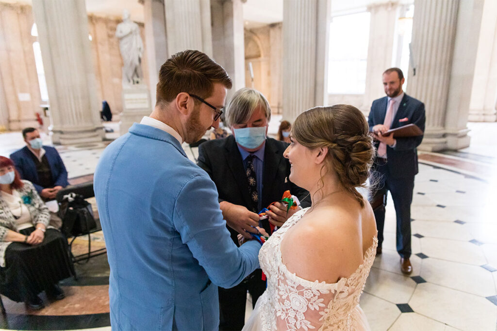 Socially Distanced Covid 19 Wedding Ceremony at City Hall Dublin Handfasting