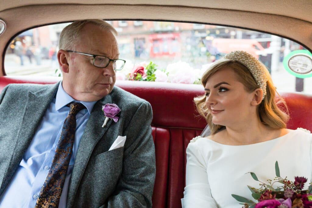 Dublin City Hall Wedding Car Winter Bride