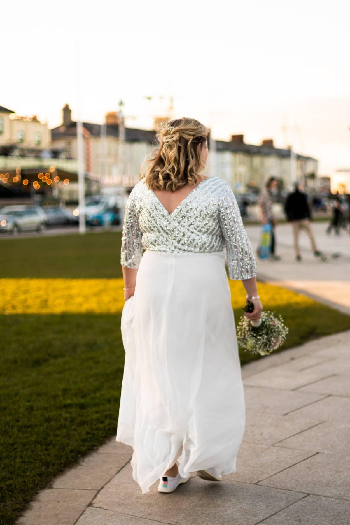 sequin high street wedding dress