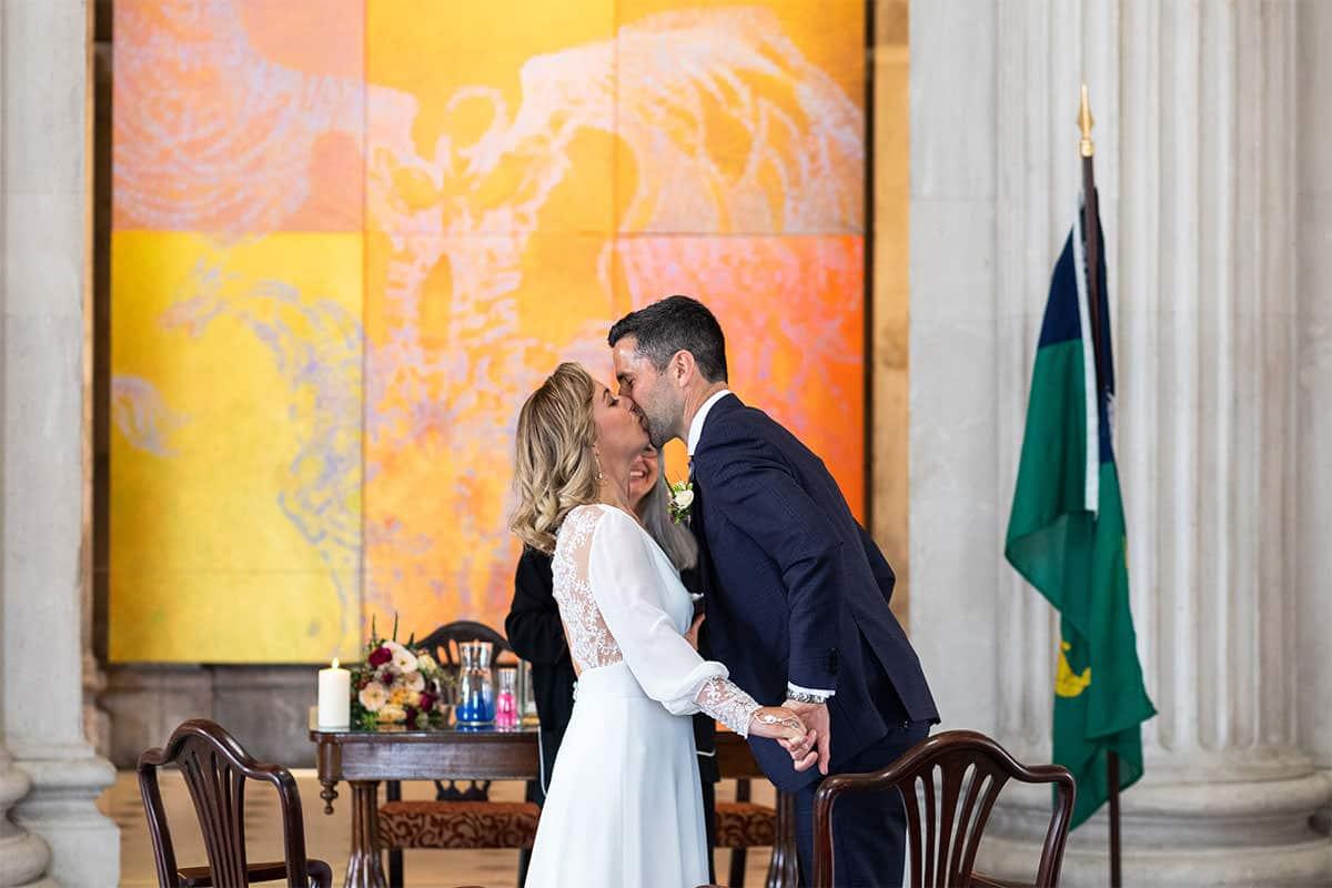 first kiss Dublin City Hall Wedding Ceremony