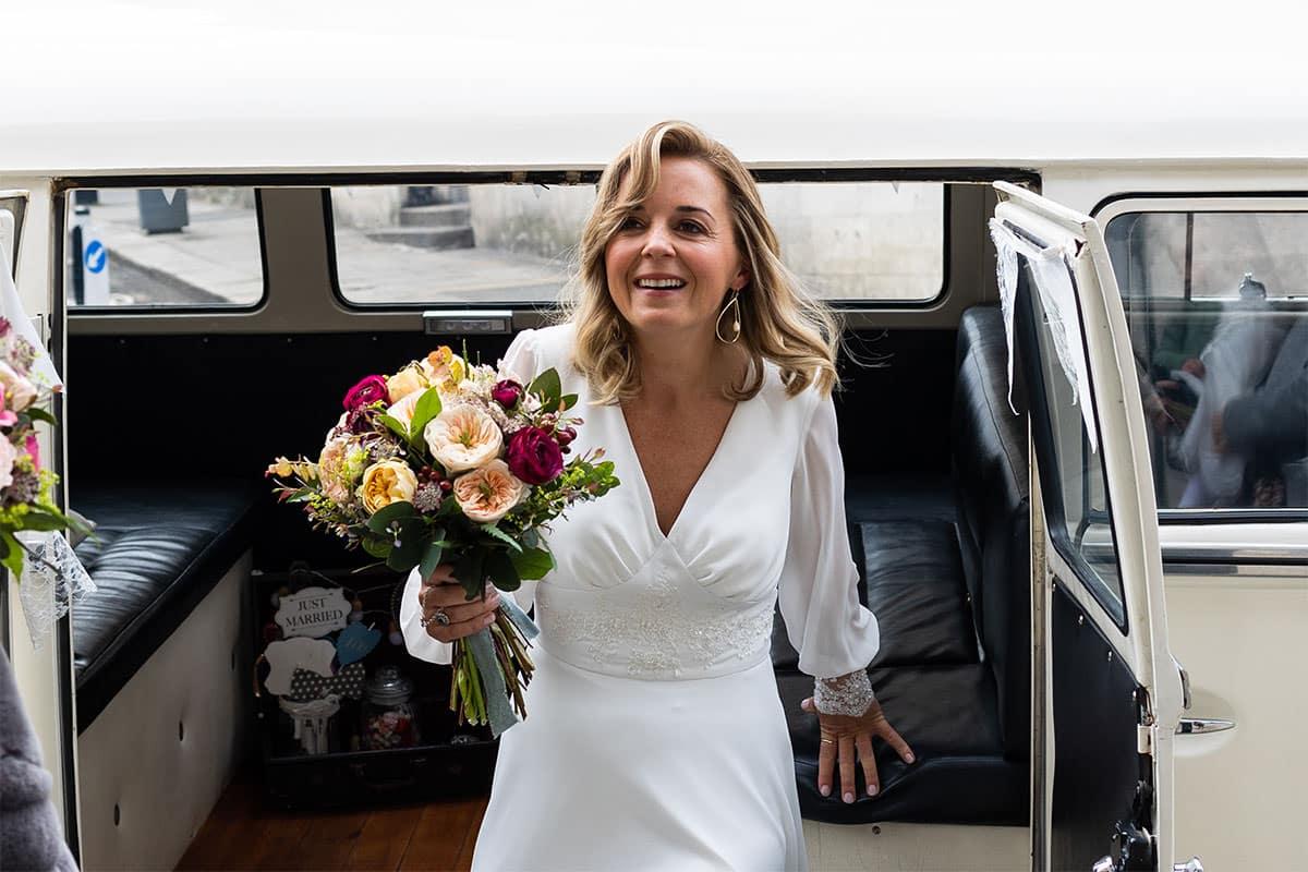 Bride arriving at Dublin City Hally Wedding