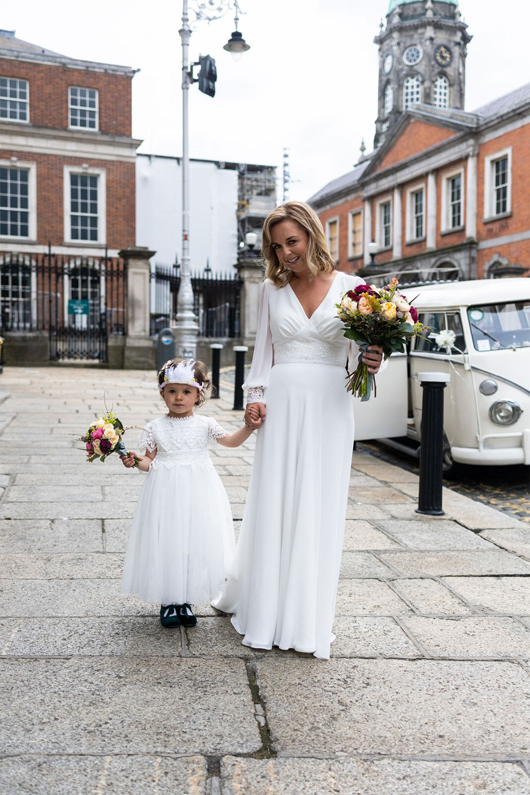 Bride and daughter arriving at Dublin City Hall Wedding