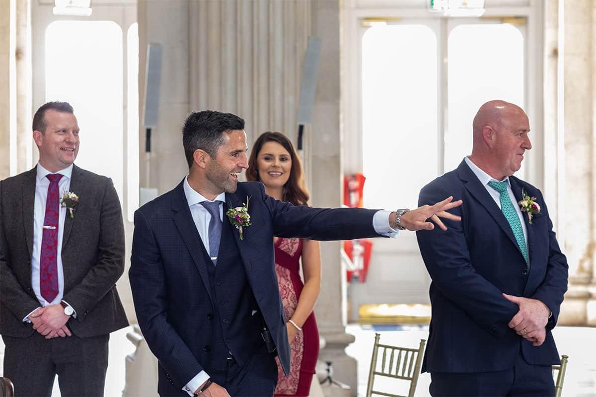 Groom awaits bride Dublin city hall wedding
