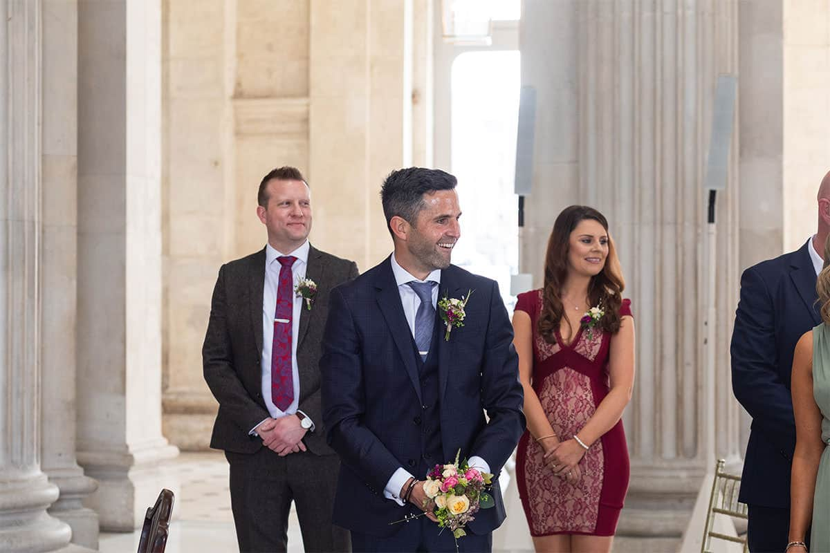 grooms reaction Dublin City Hall Wedding