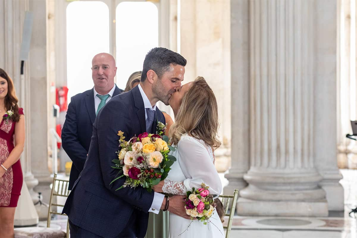 meeting at the top of the aisle Dublin City Hall Wedding